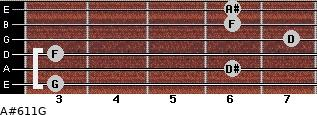 A#6/11/G for guitar on frets 3, 6, 3, 7, 6, 6