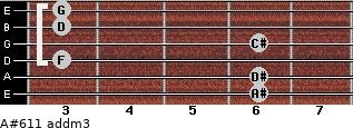 A#6/11 add(m3) for guitar on frets 6, 6, 3, 6, 3, 3