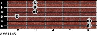A#6/11b5 for guitar on frets 6, 6, 2, 3, 3, 3
