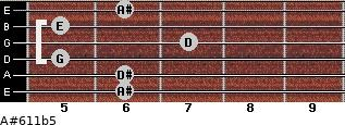 A#6/11b5 for guitar on frets 6, 6, 5, 7, 5, 6