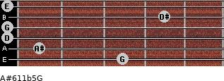 A#6/11b5/G for guitar on frets 3, 1, 0, 0, 4, 0
