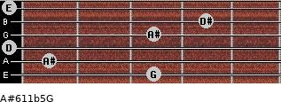 A#6/11b5/G for guitar on frets 3, 1, 0, 3, 4, 0