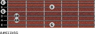 A#6/11b5/G for guitar on frets 3, 1, 1, 0, 3, 0