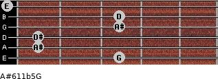 A#6/11b5/G for guitar on frets 3, 1, 1, 3, 3, 0