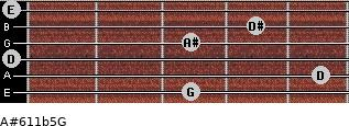 A#6/11b5/G for guitar on frets 3, 5, 0, 3, 4, 0