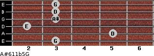 A#6\11b5\G for guitar on frets 3, 5, 2, 3, 3, 3