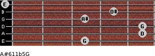A#6/11b5/G for guitar on frets 3, 5, 5, 3, 4, 0