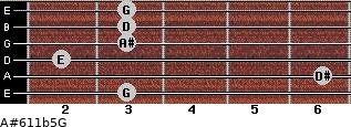 A#6/11b5/G for guitar on frets 3, 6, 2, 3, 3, 3