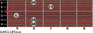 A#6/11#5sus for guitar on frets 6, 6, 5, x, 7, 6