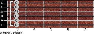 A#6/9/G for guitar on frets 3, 3, 3, 3, 3, 3