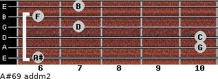 A#6/9 add(m2) for guitar on frets 6, 10, 10, 7, 6, 7