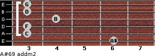 A#6/9 add(m2) for guitar on frets 6, 3, 3, 4, 3, 3