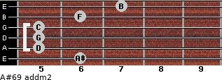 A#6/9 add(m2) for guitar on frets 6, 5, 5, 5, 6, 7