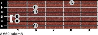 A#6/9 add(m3) for guitar on frets 6, 5, 5, 6, 6, 8