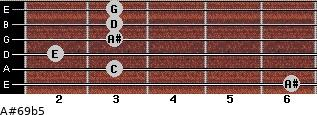 A#6/9b5 for guitar on frets 6, 3, 2, 3, 3, 3