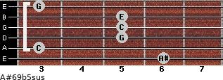 A#6\9b5sus for guitar on frets 6, 3, 5, 5, 5, 3