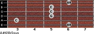 A#6\9b5sus for guitar on frets 6, 3, 5, 5, 5, 6