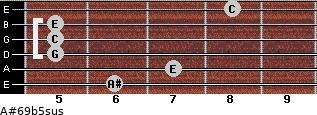A#6\9b5sus for guitar on frets 6, 7, 5, 5, 5, 8