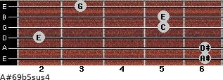 A#6/9b5sus4 for guitar on frets 6, 6, 2, 5, 5, 3