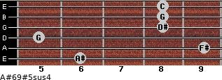 A#6/9#5sus4 for guitar on frets 6, 9, 5, 8, 8, 8