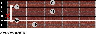A#6/9#5sus/Gb for guitar on frets 2, 1, x, 3, 1, 3
