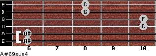 A#6/9sus4 for guitar on frets 6, 6, 10, 10, 8, 8