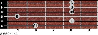 A#6/9sus4 for guitar on frets 6, 8, 5, 8, 8, 8
