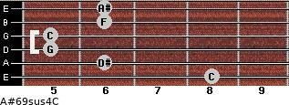 A#6/9sus4/C for guitar on frets 8, 6, 5, 5, 6, 6