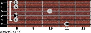 A#6/9sus4/Eb for guitar on frets 11, 8, 8, 10, 8, 8