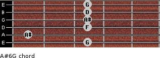A#6/G for guitar on frets 3, 1, 3, 3, 3, 3