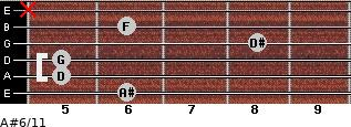 A#6/11 for guitar on frets 6, 5, 5, 8, 6, x