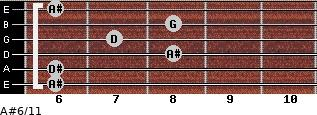 A#6/11 for guitar on frets 6, 6, 8, 7, 8, 6