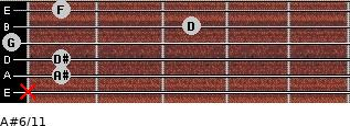 A#6/11 for guitar on frets x, 1, 1, 0, 3, 1