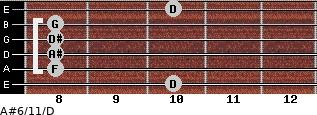 A#6/11/D for guitar on frets 10, 8, 8, 8, 8, 10