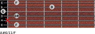 A#6/11/F for guitar on frets 1, x, 1, 0, 3, 1