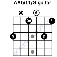 A#6/11/G for guitar on frets 3, x, 1, 0, 3, 1