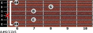 A#6/11b5 for guitar on frets 6, 7, x, 7, 8, 6