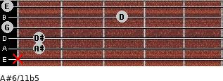 A#6/11b5 for guitar on frets x, 1, 1, 0, 3, 0