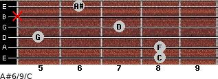 A#6/9/C for guitar on frets 8, 8, 5, 7, x, 6