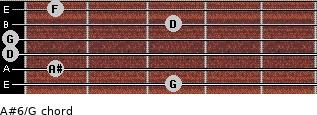 A#6/G for guitar on frets 3, 1, 0, 0, 3, 1