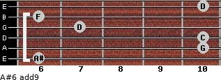 A#6(add9) for guitar on frets 6, 10, 10, 7, 6, 10