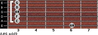 A#6(add9) for guitar on frets 6, 3, 3, 3, 3, 3
