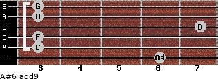 A#6(add9) for guitar on frets 6, 3, 3, 7, 3, 3