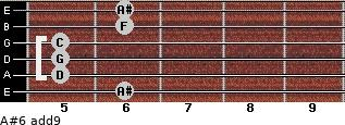 A#6(add9) for guitar on frets 6, 5, 5, 5, 6, 6