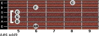 A#6(add9) for guitar on frets 6, 5, 5, 5, 6, 8