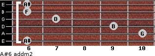 A#6 add(m2) for guitar on frets 6, 10, 9, 7, 6, 6
