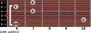 A#6 add(m2) for guitar on frets 6, 10, x, 7, 6, 7