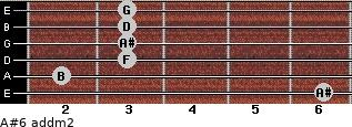 A#6 add(m2) for guitar on frets 6, 2, 3, 3, 3, 3