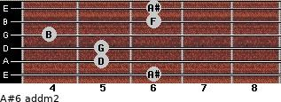 A#6 add(m2) for guitar on frets 6, 5, 5, 4, 6, 6