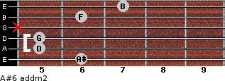 A#6 add(m2) for guitar on frets 6, 5, 5, x, 6, 7